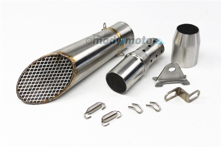 MGOD-Motorcycle Exhaust Pipe Muffler Inlet 51 mm SC GP Tilt Pipe Escape Exhust Mufflers Stainless Steel