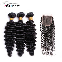 KEMY HAIR FASHION Brazilian Deep Wave Remy Human Natural Color Weaves For Salon Hair 3 Bundles With 1 Pack 4*4 Lace Closure
