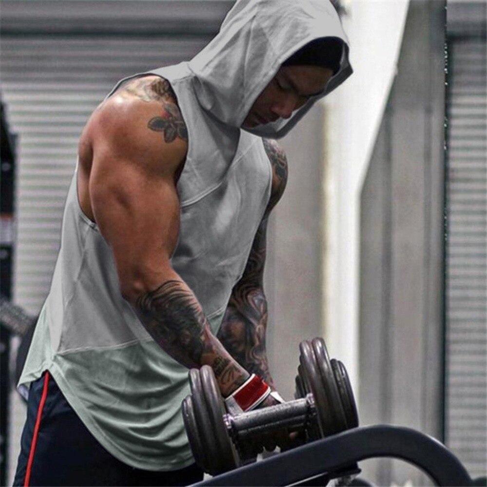 Gematigd 2019 Hot Mannen Fitness Sportscholen Hoodie Top Vest Mouwloze Tank Workout Bodybuilding Spier Mesh Sexy Effen Dropshipping #0513