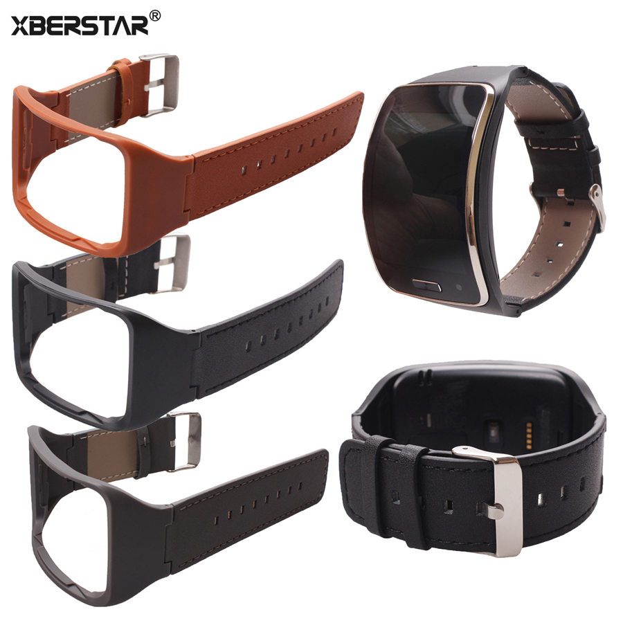 Genuine Leather Wrist Band Watch Strap For Samsung Gear S SM-R750 Watchbands Smart Watch Wtih Classic stainless steel clasp