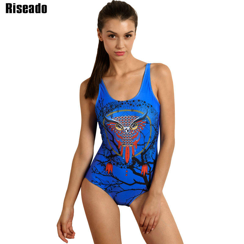 Riseado 2017 One Piece Swimsuit Owl Printed Swimwear Women One-piece Training Swim Wear Sport Bathing Suits for Swimming fashionable strappy printed cut out one piece swimsuit for women