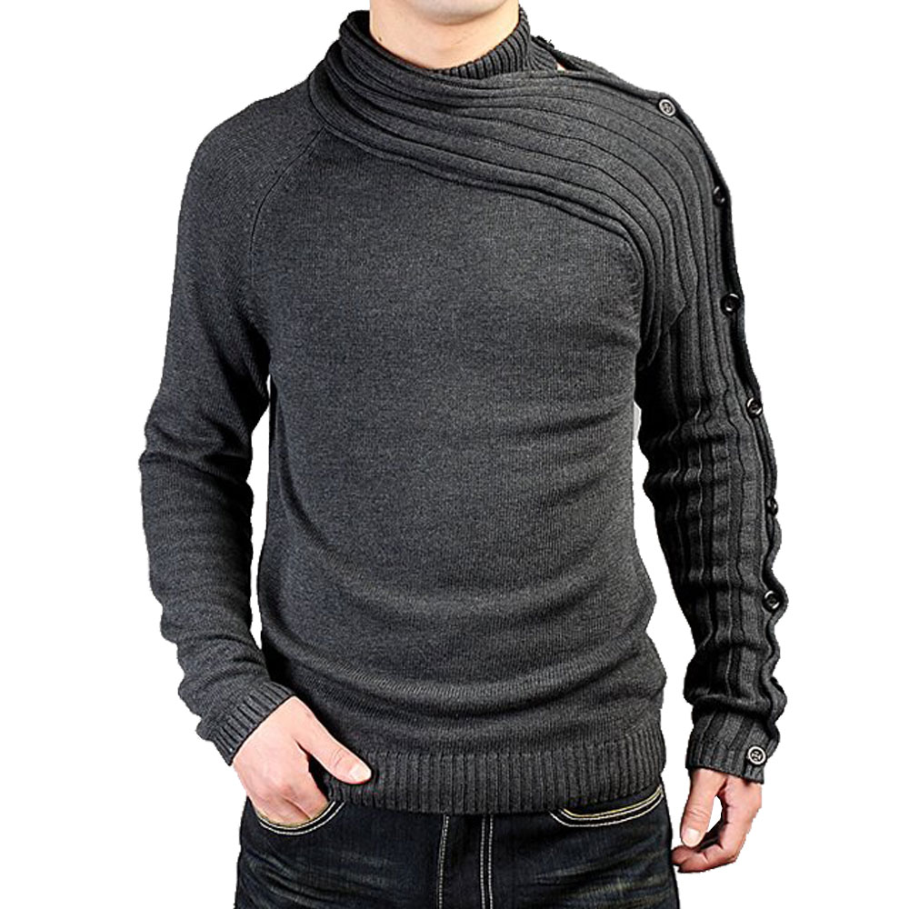 Men's Personality Asymmetric Sleeve Fashion Sweater Knitwear Male Sweaters For 2018 Bussiness Man Inside Coats Spring