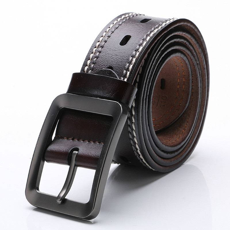 100% Cowhide Genuine Leather Belts for Men Cowboy Luxury Strap Brand Male Vintage Fancy Jeans Designer Belt Men High Quality