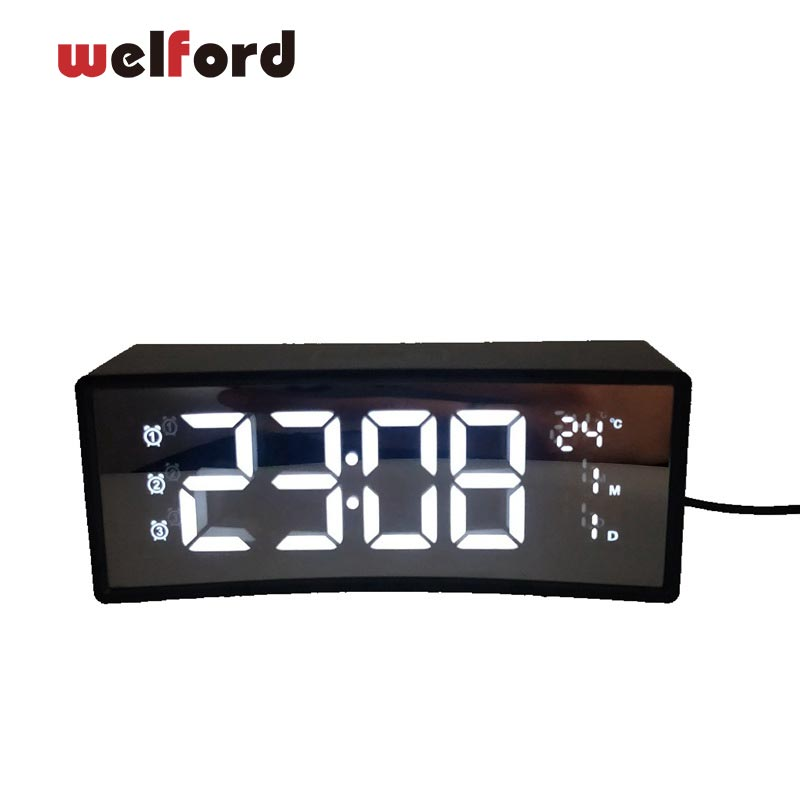 Arc LED Réveil Numérique Snooze Horloge de Table Réveil Lumière Électronique Grand Temps Température Affichage Décoration de La Maison Horloge