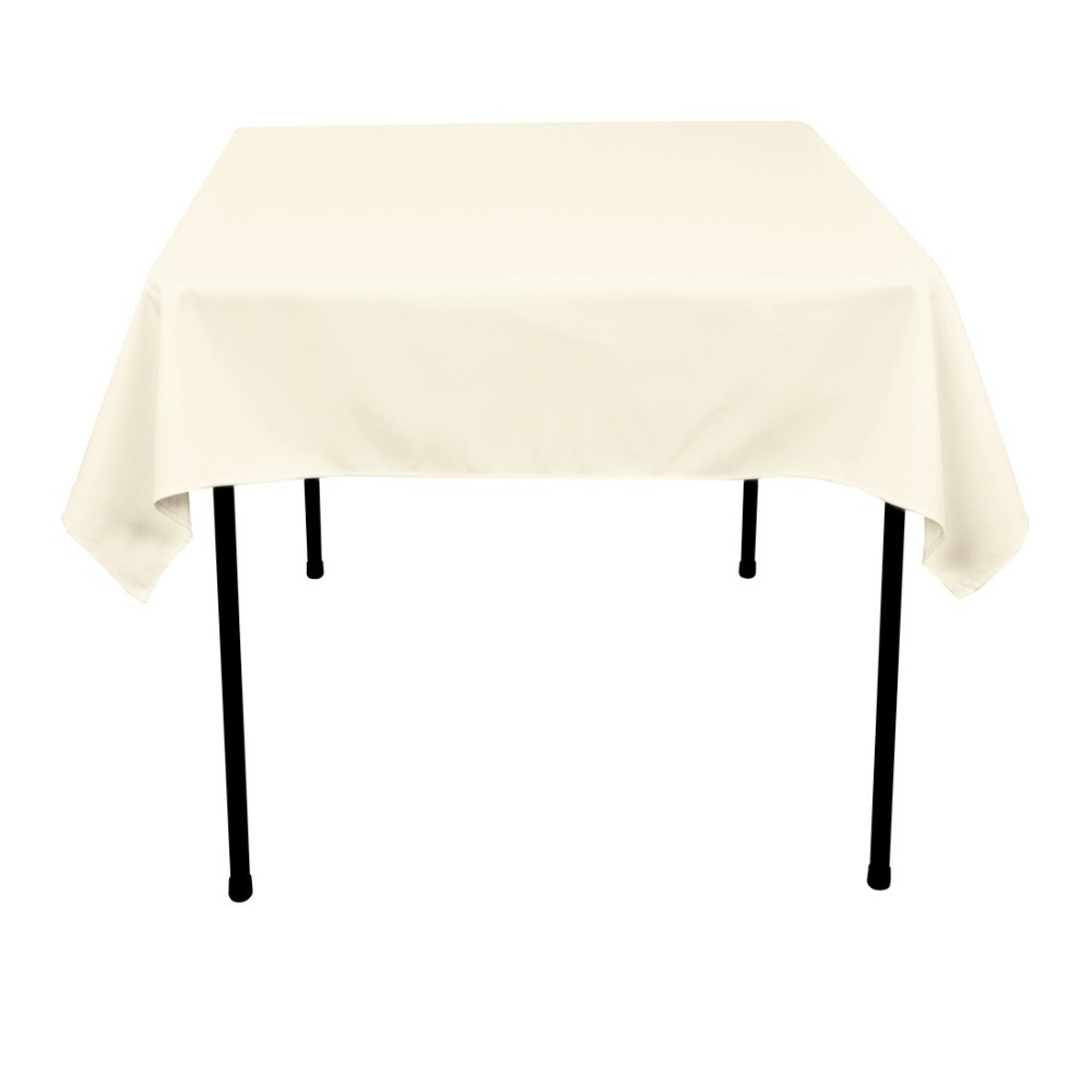 HK DHL Stain Feel 54 inch/140cm Polyester Square Tablecloth Ivory for Wedding, 5/Pack