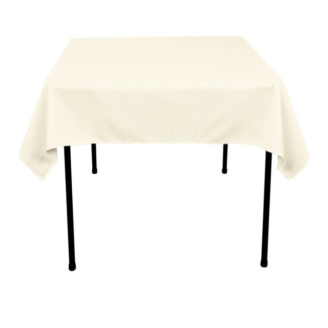 HK DHL Stain Feel 54 Inch/140cm Polyester Square Tablecloth Ivory For  Wedding, 5