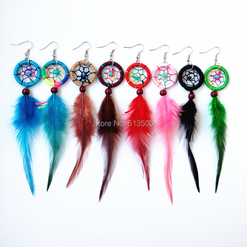 Dhl Free Shipping Indian Feather Dream Catcher Earring Who Earrings Mixed Colors In Drop From Jewelry Accessories On Aliexpress