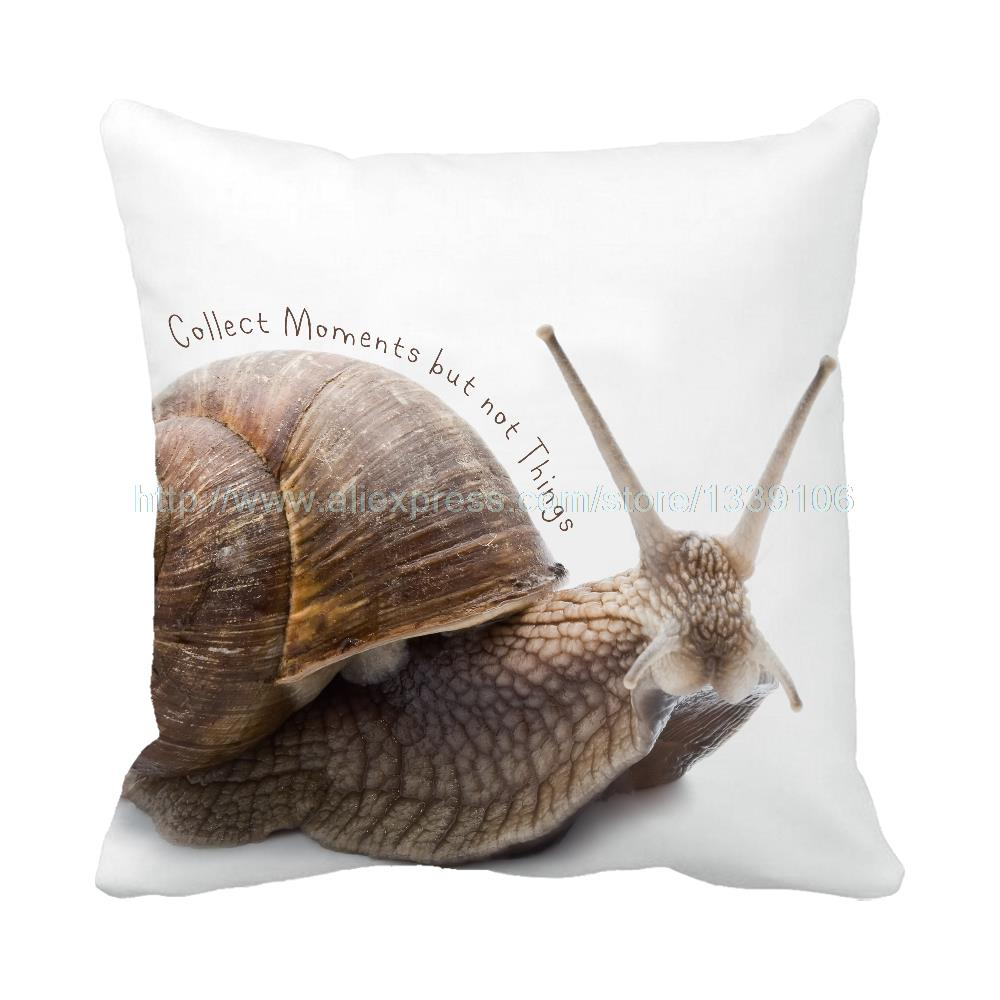 New Collect moments but not things snail printed white custom cushion home decor unique design decorative pillow sofa bed chair