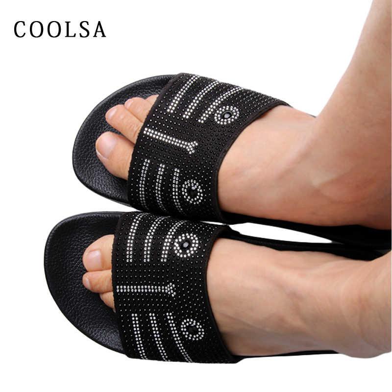 Coolsa/Новинка; женские домашние тапочки; дизайнерские шлепанцы со стразами; сандалии со стразами; тапочки КОТЫ на плоской подошве; повседневная женская пляжная обувь; Лидер продаж