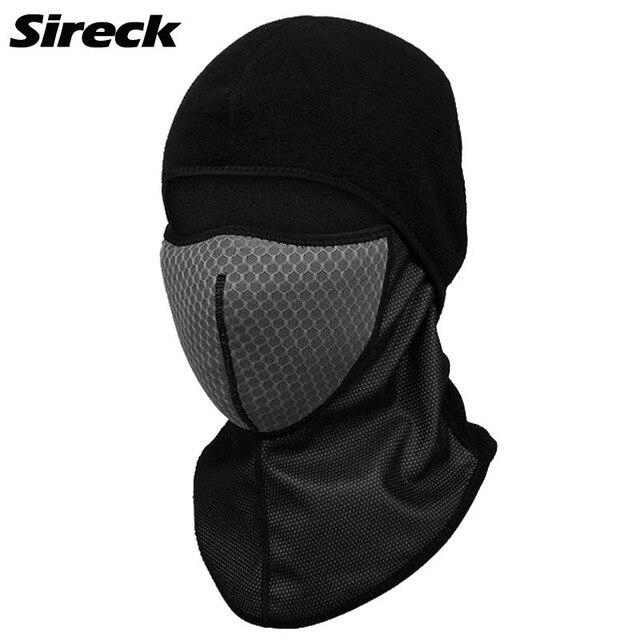 Sireck Winter Cycling Cap Thermal Fleece Warmer Face Mask With Filter Balaclava Bandana Bike Bicycle Ski Neck Hat Head Scarf