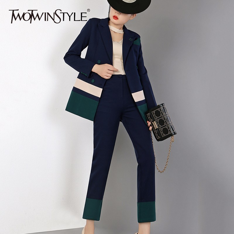 Women's Sets Twotwinstyle Print Casual Two Piece Set Women Lapel Long Sleeve Big Size Blazer Strap High Waist Ankle Length Dress Female Suit Suits & Sets