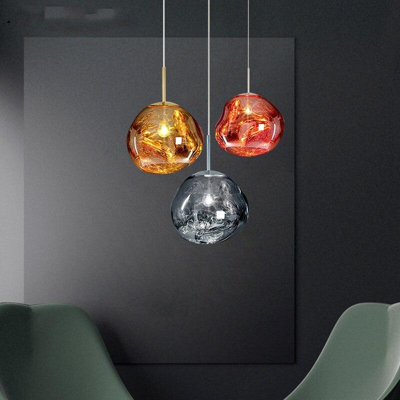 Glass single head Silver/yellow/red LED chandelier Bar decoration Lava lamp Bedroom bedside light Glass restaurant hanging light
