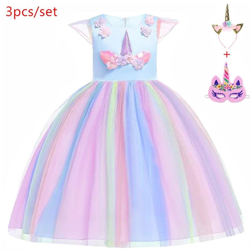 adbb689473ead 2019 Easter Girls cosplay Unicorn Dress Children's day Princess Birthday  Party elza Dress Kids Halloween christmas Costume