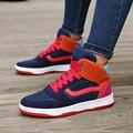 Caliente Nuevo 2016 Otoño Mujeres Top del Alto Botines Cuñas de Color Mezclado de Las Mujeres Altura Aumento de la Aptitud Ocasional de Plataforma Zapatos de Los Planos