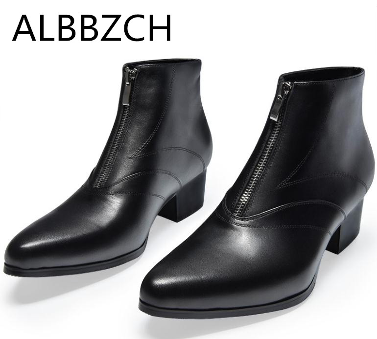 New mens genuine leather ankle boots high heels autumn winter snow boots pointed toe zip height increase wedding dress shoes men