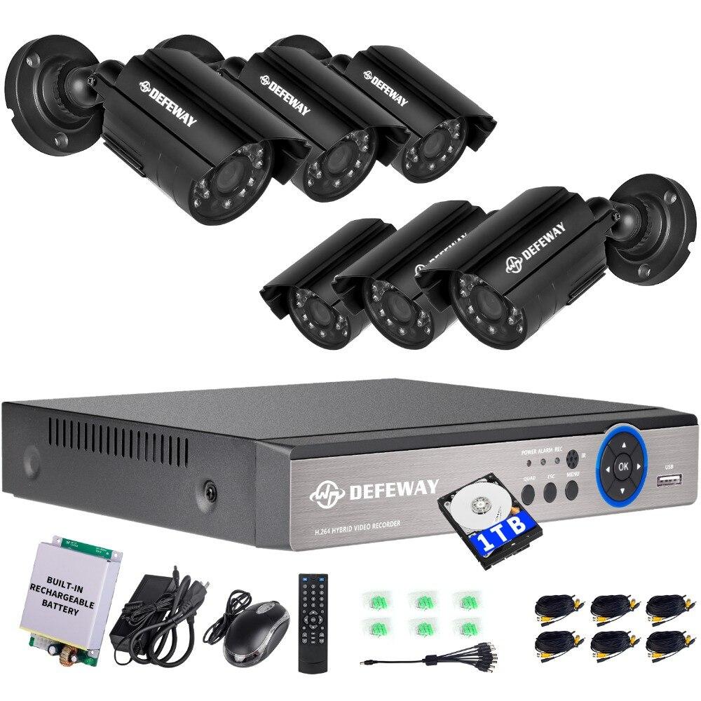 DEFEWAY 1080N 8 Canais Sistema de Vídeo Vigilância 1 TB HDD DVR KIT 6 PCS Ao Ar Livre Visão Nocturna do IR 1.0 MP com Emergência bateria