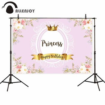 Allenjoy photocall backdrops pink flowers golden crown baby princess birthday background for photo photography photobooth image