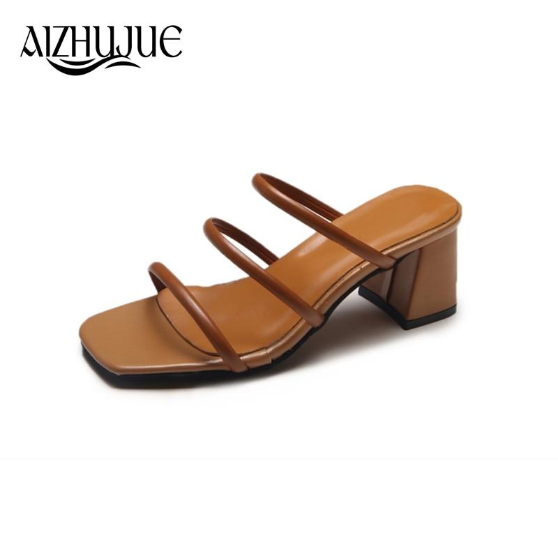 AIZHUJUE Women Sandals 2018 Summer New Fashion High Heels Platform Sandals Simple Vintage Women Wedding Shoes Square Heel Pumps