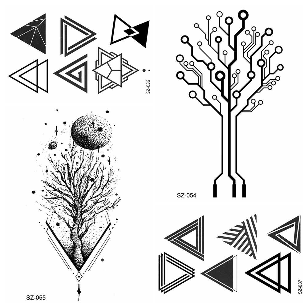 Detail feedback questions about small triangle totem waterproof tattoo women fake arm tree branch temporary tattoo moon men hands stickers transferable