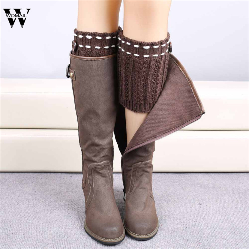 WOMAIL Women Leg Warmer Winter Lace Stretch Boot Leg Cuffs Boot Socks Knitted Socks Boot Cover Gifts