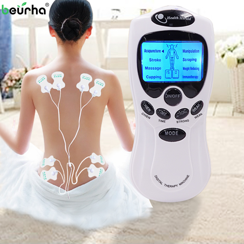 Beurha Electric herald Tens Acupuncture Body Muscle Massager Digital Therapy Machine 8 Pads For Back Neck Foot Leg health Care(China)