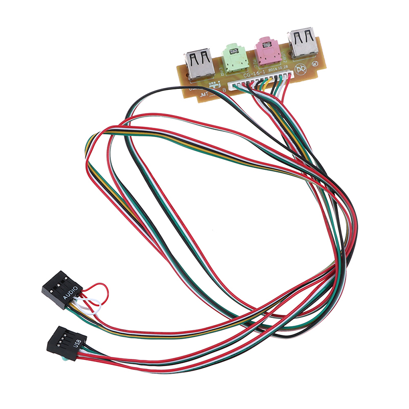 1pc 2 USB 2.0 Ports Pc Computer Case Front Panel Usb Audio Mic Earphone Cable 60cm