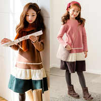 Thick 2019 Autumn Girls Dresses with Velvet Kids Warm Long Sleeve Dress Baby Girls Casual Clothes Kids Dresses for Girls, #4006