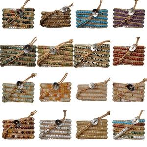 Image 3 - 3 pcs/Lot 5 enveloppes naturel multicolore Amazonite hommes femmes pierre gemme Wrap véritable Bracelet en cuir Bracelet perles de mode