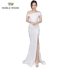 NOBLE WEISS Chic Boat Neck Evening Gown 2019 Sexy Thigh High Slits High Quality Prom Dress