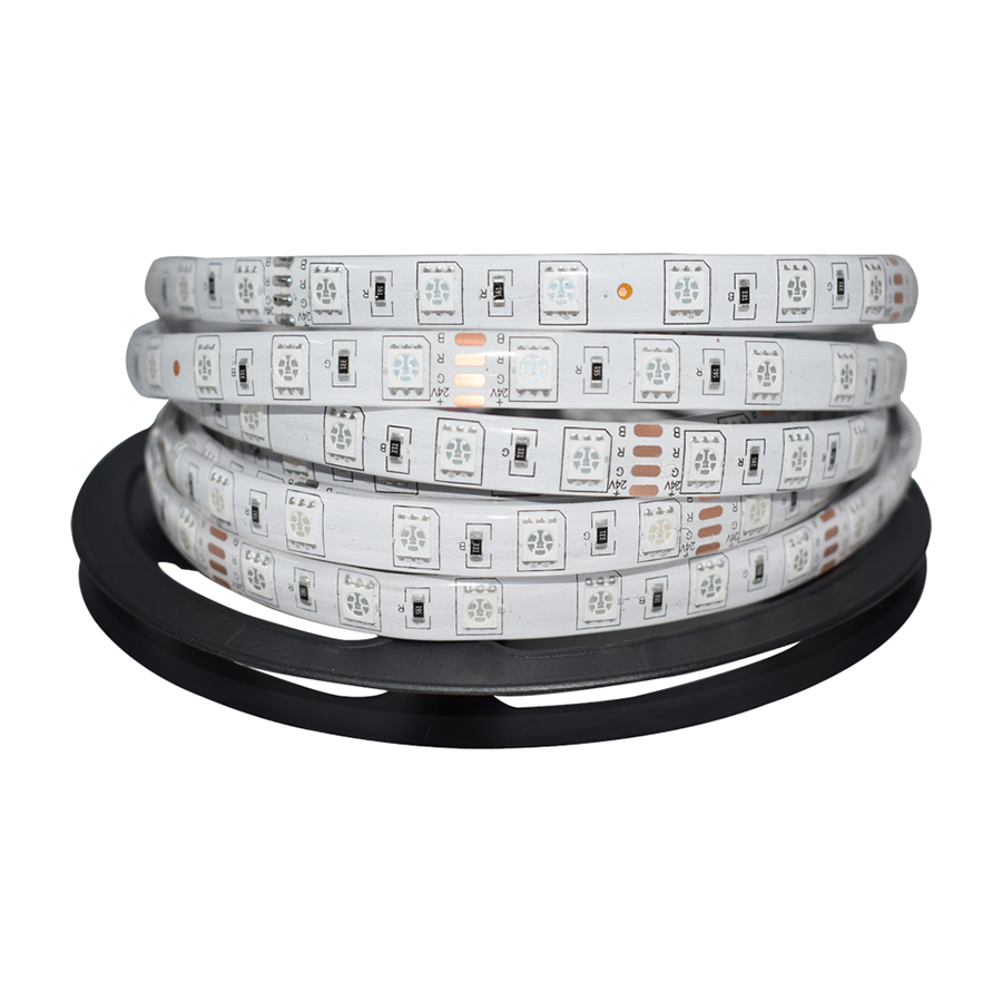 DC24V Impermeabile LED Strip 5050 luce fiexible 60Led / m, 5m / lotto, bianco, bianco caldo, rosso, verde, blu, RGB, led luce corda nastro
