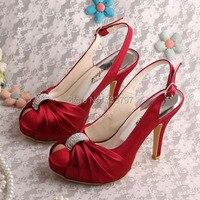 Wedopus منصة الصنادل عالية الجودة النبيذ الأحمر الزفاف slingback في أحذية للنساء مع الكريستال