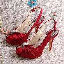 Wedopus Высокое Качество Красное вино Платформы Сандалии Свадьба Slingback Обувь для Женщин С Кристалл