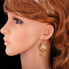 Gold Plated Indian Jewelry Set Women Tassel Necklace & Drop Earrings Vintage Party Earing And Necklace Jewellery Sets NE895
