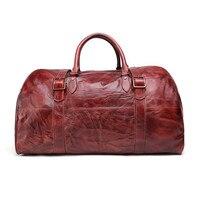 Крутая мужская сумка Красного и коричневого цвета, винтажная натуральная кожа из коровьей кожи, мужские дорожные сумки, прочные качественн