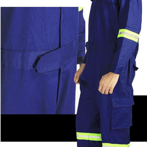 Image 5 - One piece Long Sleeve Safety Coveralls 100% Cotton Reflective Work Clothes Anti Static Clothes For Auto Repair Grid Coal Miner