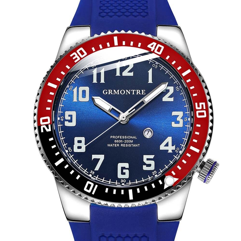Professional Diving Watch GRMONTRE Men Quartz Sports Watch relogio masculino Super green luminescence Sapphire mirror Rubber