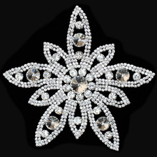 10Pieces Flower Sewing Crystal Bridal Sash and Belts Rhinestone Applique Diamond Motif For Clothes Wedding Party