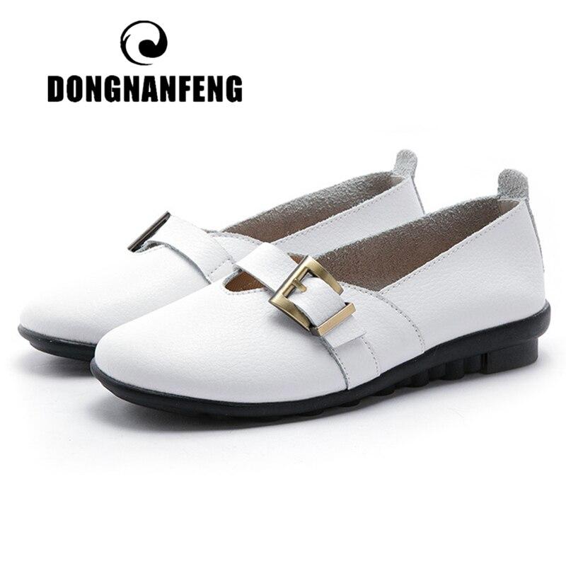Женские сандалии на плоской подошве DONGNANFENG, летняя пляжная обувь из натуральной кожи с пряжкой на ремешке, большие размеры 42, 43, 44, PEK-1867