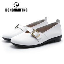 DONGNANFENG Women Female Mother Ladies Genuine Leather Shoes Flats Sandals Summer Beach Buckle Strap Plus Size 42 43 44 PEK-1867