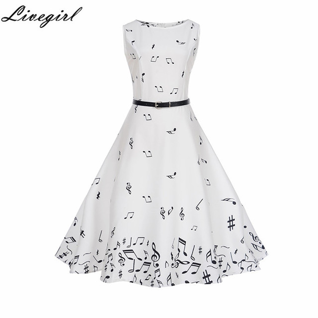147d6e6a65f Women Summer Music Note Printing Dress Audrey hepburn Robe Retro Swing  Casual Vintage Sleeveless O-