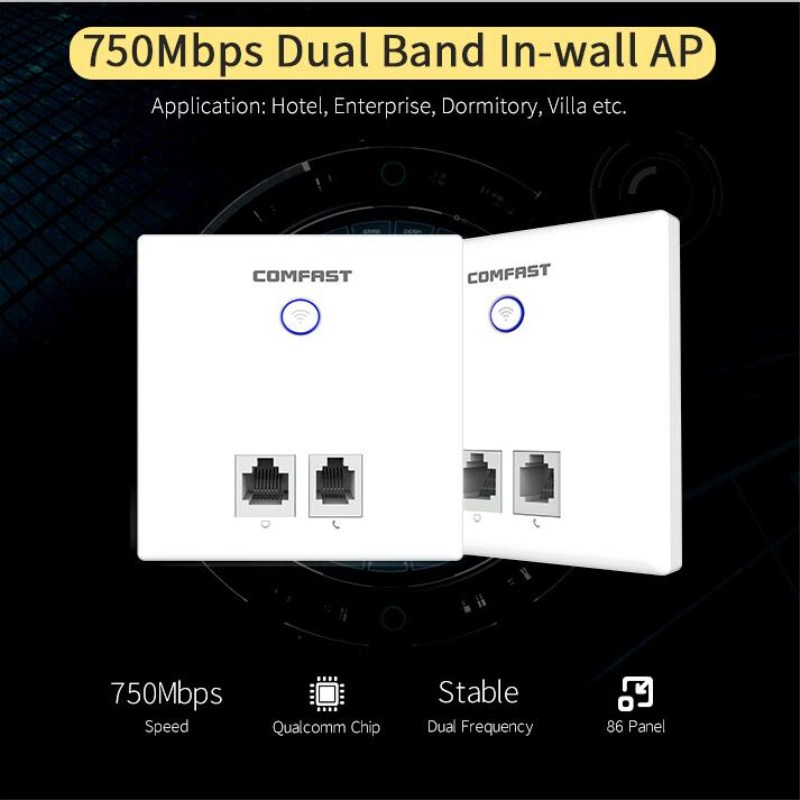 5Ghz 750Mbps Dual Band wireless in Wall AP support OpenWRT OS 48V POE with WPS 2*RJ11 + 2*RJ45 FAST Ethernet Port ac wifi Router беспроводной маршрутизатор fast fw150rm ap wifi