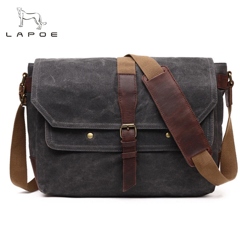 LAPOE Vintage Military Men Messenger Bag Multifunction Waterproof Canvas Single Shoulder Bags Small Flap Male Crossbody Bag casual canvas women men satchel shoulder bags high quality crossbody messenger bags men military travel bag business leisure bag