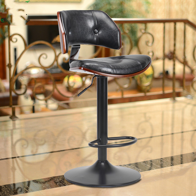 Retro Design Lifting Swivel Bar Chair Rotating Adjustable Height Pub Bar Stool Chair Footrest Pu Material Reception Cadeira Bar Chairs Furniture