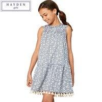 HAYDEN Kızlar Yaz Gençler Elbiseler 13 12 Yıl 2017 Genç Kız elbise Boyutu 10 14 Çiçek Baskı Elbise Diz Üstü Püskül Trim