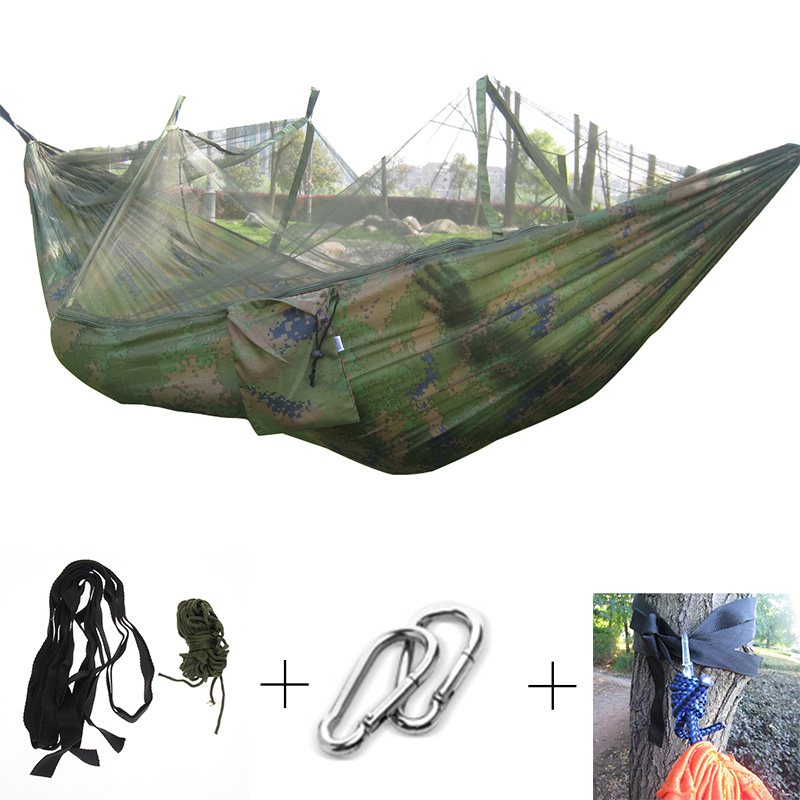 Hammocks New Outdoor Hanging Hammock Portable High Strength Fabric Hammock Hanging Bed With Mosquito Net Sleeping Bed 260x130cm Factories And Mines