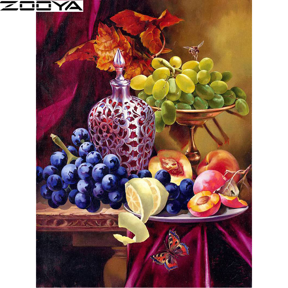 5D DIY Diamond Painting Cross-Stitch Kits Diamond Embroidery Pictures Of Rhinestones Fruit Grape Light Painting By Numbers R1200