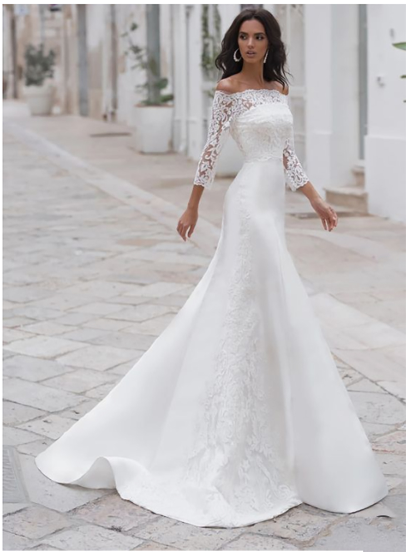 Lace Mermaid Wedding Dress 3/4 Sleeves High Quality Appliques Bride Dress Elegant Vintage Lace Backless Bridal Gown
