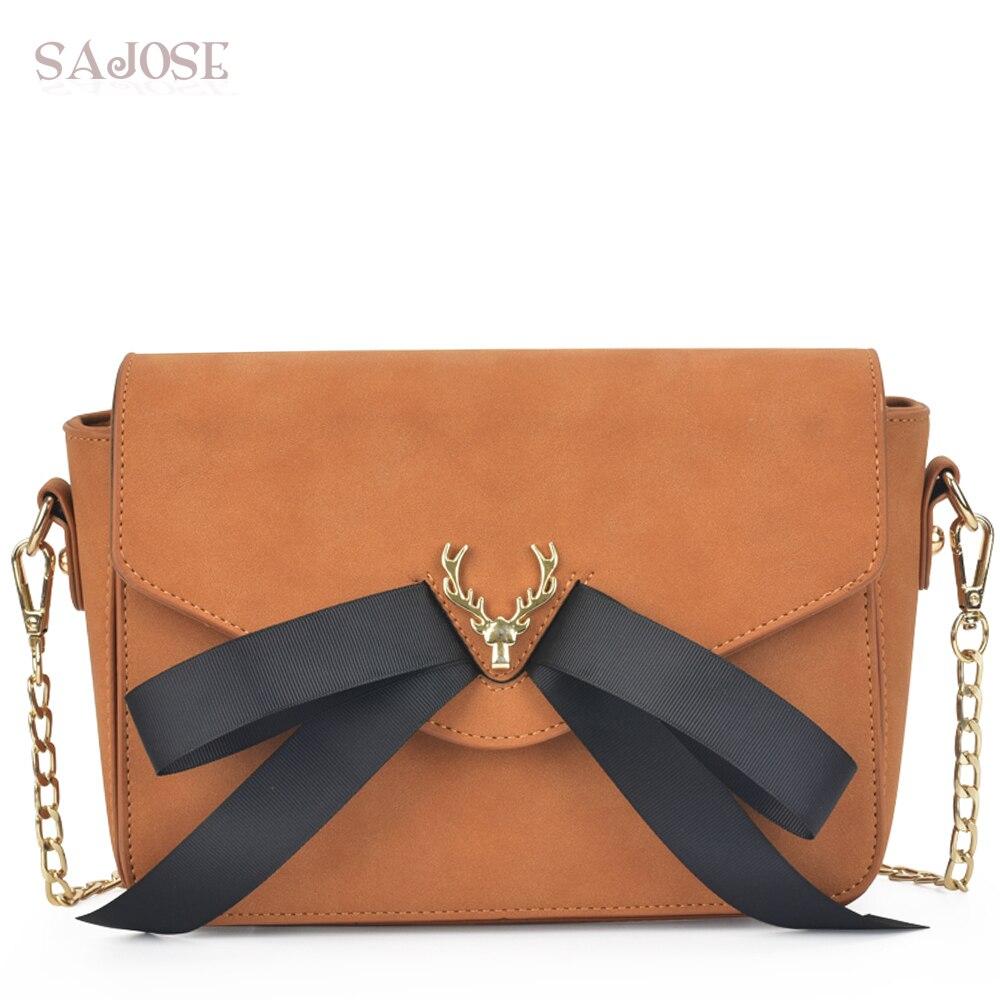 Sacchetti di Spalla delle donne di Modo Nabuk Cuoio DELL'UNITÀ di elaborazione Corssbody Messaggero delle Borse Per Le Donne Borsa Vintage Brown Bow Bag Trasporto di Goccia