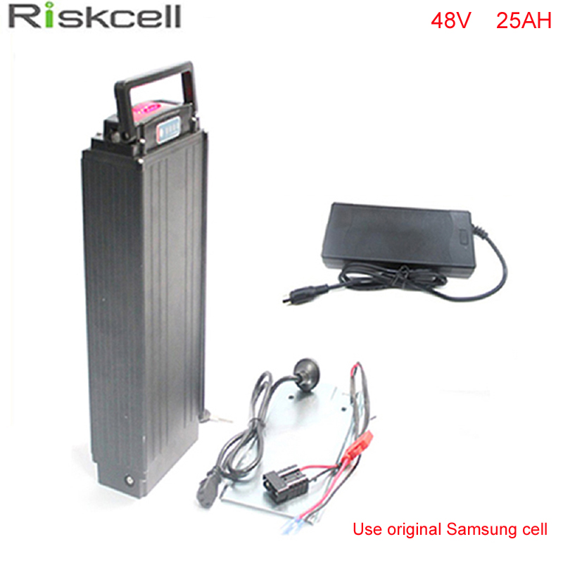 No taxes 13S7P 18650 Samsung cells 48V 25Ah Electric Bicycle Battery Rear Rack 1000W Lithium ion Battery Pack with charger +bms ebike battery 48v 15ah lithium ion battery pack 48v for samsung 30b cells built in 15a bms with 2a charger free shipping duty