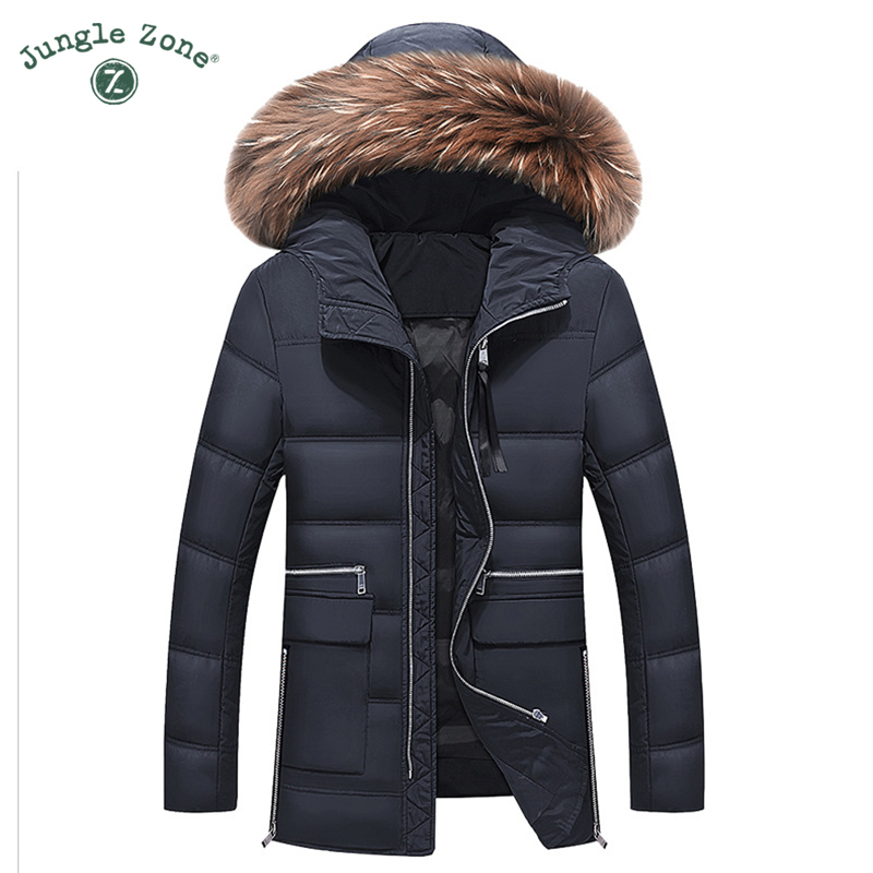 Mens Winter Thick Warm Down Jacket True Fur Long Coat Duck Down Stand Collar Removable Hood Thick jackets Men down jacket 027 2017 men down jacket winter warm collar fur trim hood coat outwear puffer down cotton long jacket clothes thick canada cheap